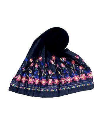 Blue Designer Emboidered Diamond Studed Hijab Head Scarf