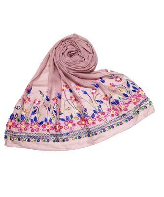 Pink Designer Emboidered Diamond Studed Hijab Head Scarf