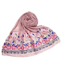 Pink Designer Emboidered Diamond Studed Hijab Head Scarf