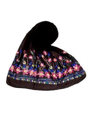 Brown Designer Emboidered Diamond Studed Hijab Head Scarf