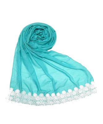 Blue Bordered Plain Formal Hijab Head Scarf
