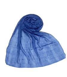 Blue Premium Cotton Crush Hijab Head Scarf