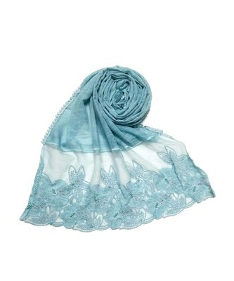 Blue Designer Flower  Diamond Studed Premium Cotton Hijab