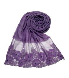 Purple Designer Flower  Diamond Studed Premium Cotton Hijab