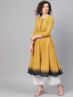 Yellow & Navy Booti Anarkali