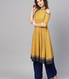 Yellow & Navy Booti Cold Shoulder Anarkali