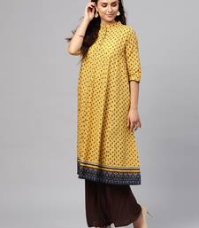 Yellow & Navy Booti Empire Seam Kurta
