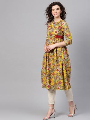 Yellow & Red floral_print Side Tab Kurta