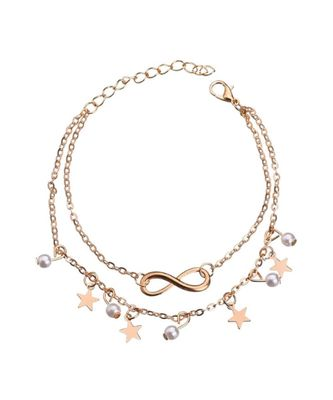 Stars Pearl Layered Anklet