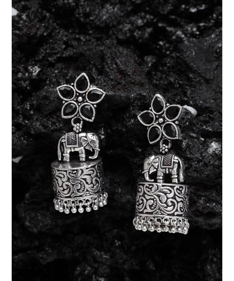 5a019ec8a Aarohi Silver Oxidized Jhumka Earrings - Ferosh - 2942247