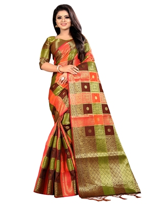 Multicolor woven jacquard saree with blouse