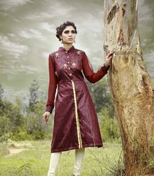 Maroon aari work brocade and georgette sherwani kurta readymade kurta