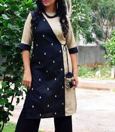 Black and beige  hand embroidery cotton  readymade kurta