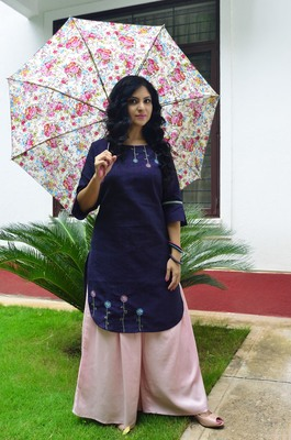 Violet  hand embroidery  handloom cotton  readymade kurta