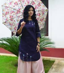 Violet  hand embroidery  handloom khadi  readymade kurta