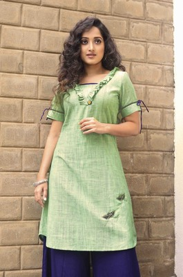 Green  hand embroidery handloom cotton readymade kurta