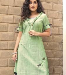 Green  hand embroidery handloom khadi  readymade kurta