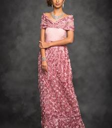 mauve embroidered net party wear gown