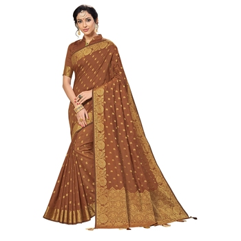 Brown woven chanderi silk saree with blouse
