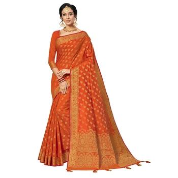 Orange woven chanderi silk saree with blouse