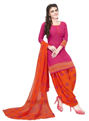 magenta printed synthetic unstitched salwar with dupatta