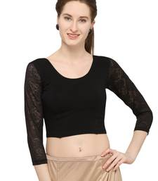 Black Self Designed Lycra Stratchable Blouse