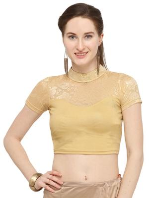 Gold Self Designed Lycra Stratchable Blouse