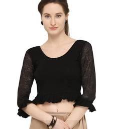 Black Self Designed Lycra Stratchable Blouse