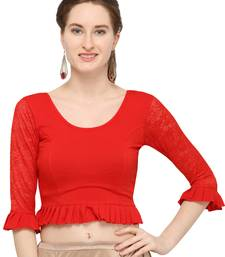 Red Self Designed Lycra Stratchable Blouse