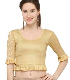 Gold Self Designed Lycra Stratchable Blouse