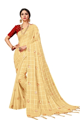 Chiku woven art silk saree with blouse