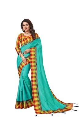 Sea green plain fancy fabric saree with blouse