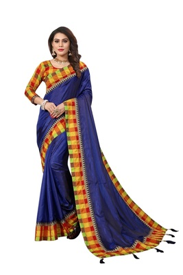 Navy blue plain fancy fabric saree with blouse