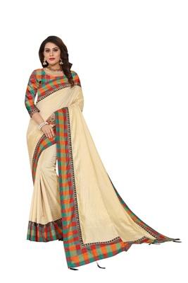 Cream plain fancy fabric saree with blouse