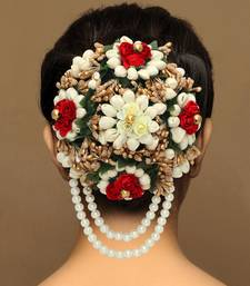 Multicolor Flower Hair Juda With Pearls