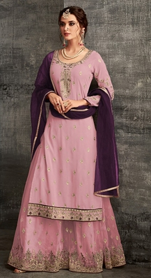 Light-purple embroidered faux georgette salwar