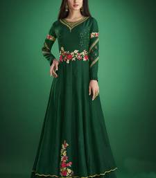 Dark-green embroidered jacquard islamic-tunics