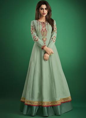 Sea-green embroidered jacquard islamic-tunics