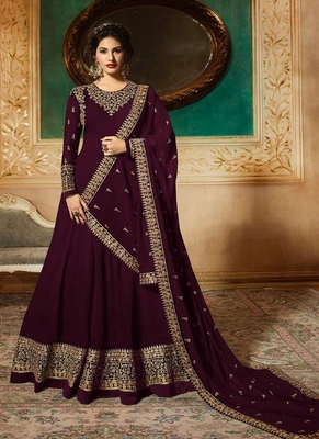 Purple  Embroidered Faux Georgette Anarkali