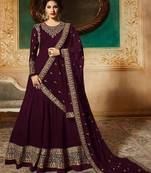 Buy Rani-pink embroidered faux georgette salwar