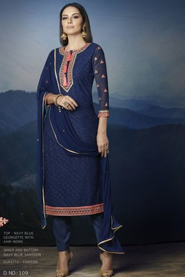 blue embroidred georgette semi stitched salwar with dupatta