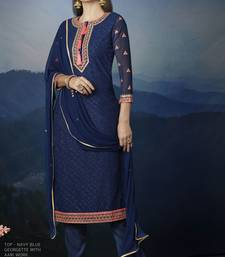 blue embroidred georgette semi stitched salwar with dupatta