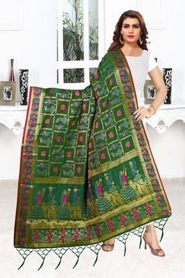 Green silk Trends Of Banarasi Dupataa With Hand Made Tassel