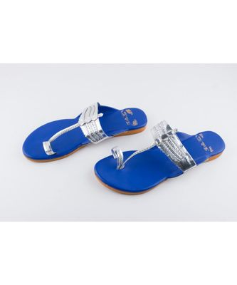NAVY BLUE & SILVER KOLHAPURIS