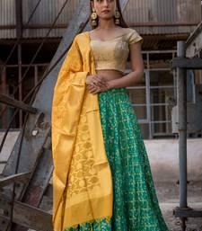 green woven art silk readymade lehenga cholis