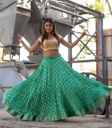 green woven art silk bandhani readymade lehenga cholis