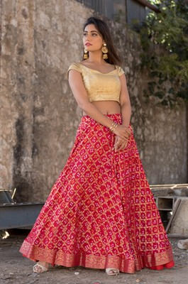 red women art silk bandhani reaymade lehenga choli