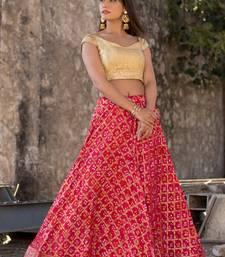 red women art silk bandhani reaymade lehenga choli