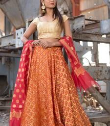 orange woven art silk readymade lehenga cholis