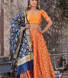 Orange Dress Women Garba Dress Orange Lehenga Blouse Indian Dress Lehanga Ethnic Dress Women Cotton Lehenga Choli Chaniya Choli